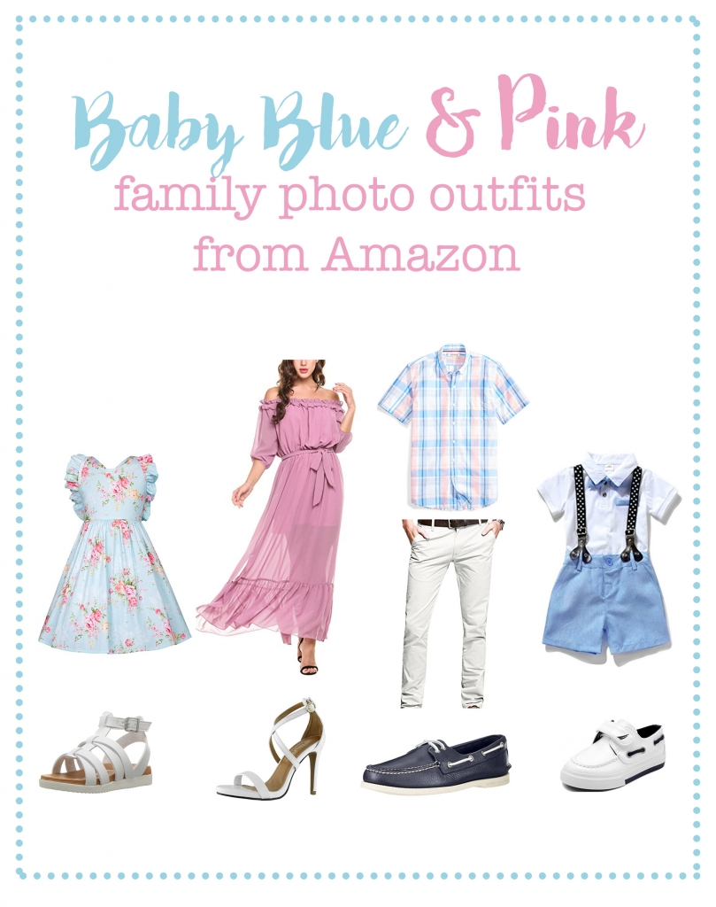 Baby Blue and pink family photo outfits from Amazon, spring family picture outfits, spring family picture ideas, spring mini sessions, cheap dresses, spring dresses, toddler suspender outfit, easter outfits, easter mini sessions