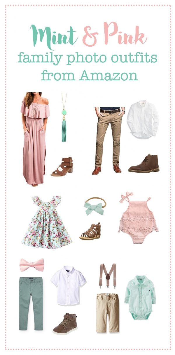 Spring family photo outfits, mint and pink photo outfits, family photo outfits
